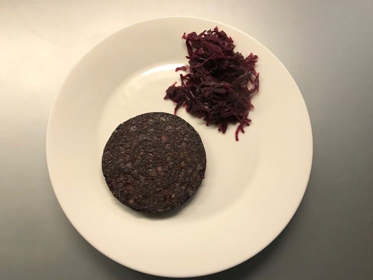 black pudding with red cabbage