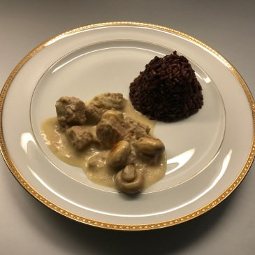 blanquette de veau or classic french stew of veal with rice