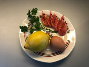 ingredients for eggs with shrimp