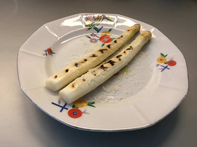 white griled asparagus with parmesan cheese