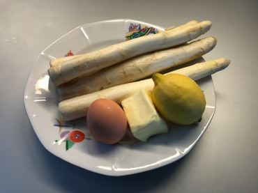 ingredients of asparagus with Hollandaise © cadwu