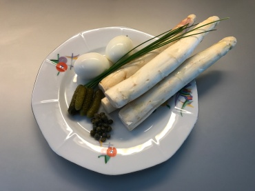 Ingredients of asparagus with sauce gribiche