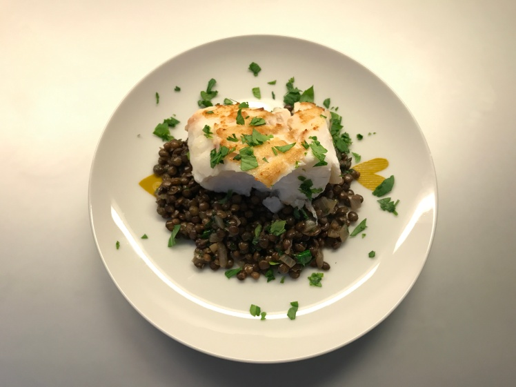 Cod with Lentils, Cilantro and Parsley © cadwu