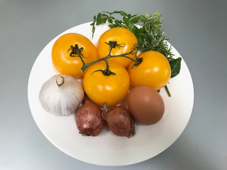 Ingredients of Consommé of Yellow Tomatoes