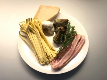 Ingredients of Tagliatelle with Artichokes, Pancetta (or Speck) and Parmesan Cheese © cadwu