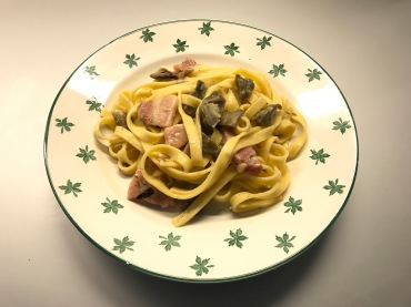 Tagliatelle with Artichokes, Pancetta (or Speck) and Parmesan Cheese © cadwu