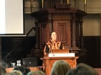 Professor Louise O Fresco reads the laudation for Yotam Ottolenghi