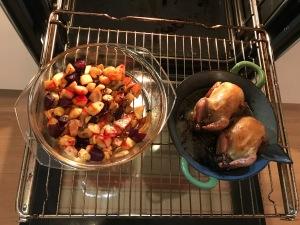 Stuffed Quails and Seasonal Vegetables in the oven © cadwu