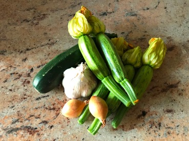 Ingredients of Stuffed Courgette or Zucchini Flowers © cadwu