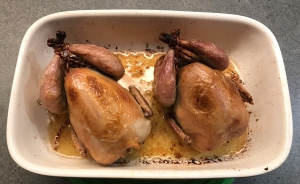 Quail with Pruneaux d'Agen, Sage and Olives from the oven © cadwu