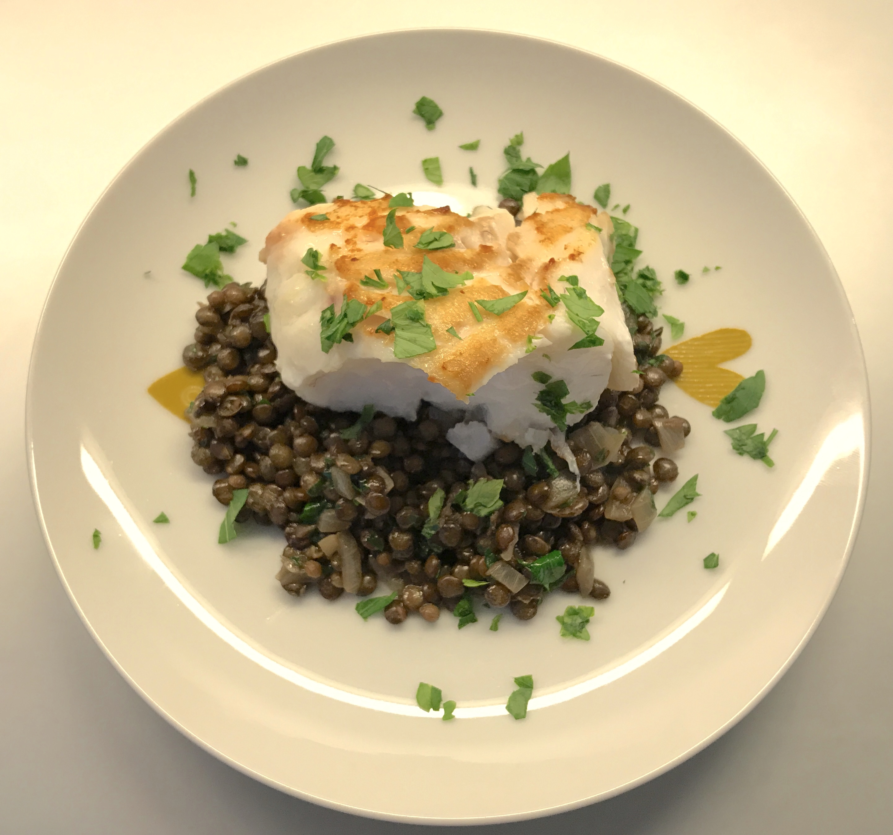 Lentils with Cod and Cilantro ©cadwu